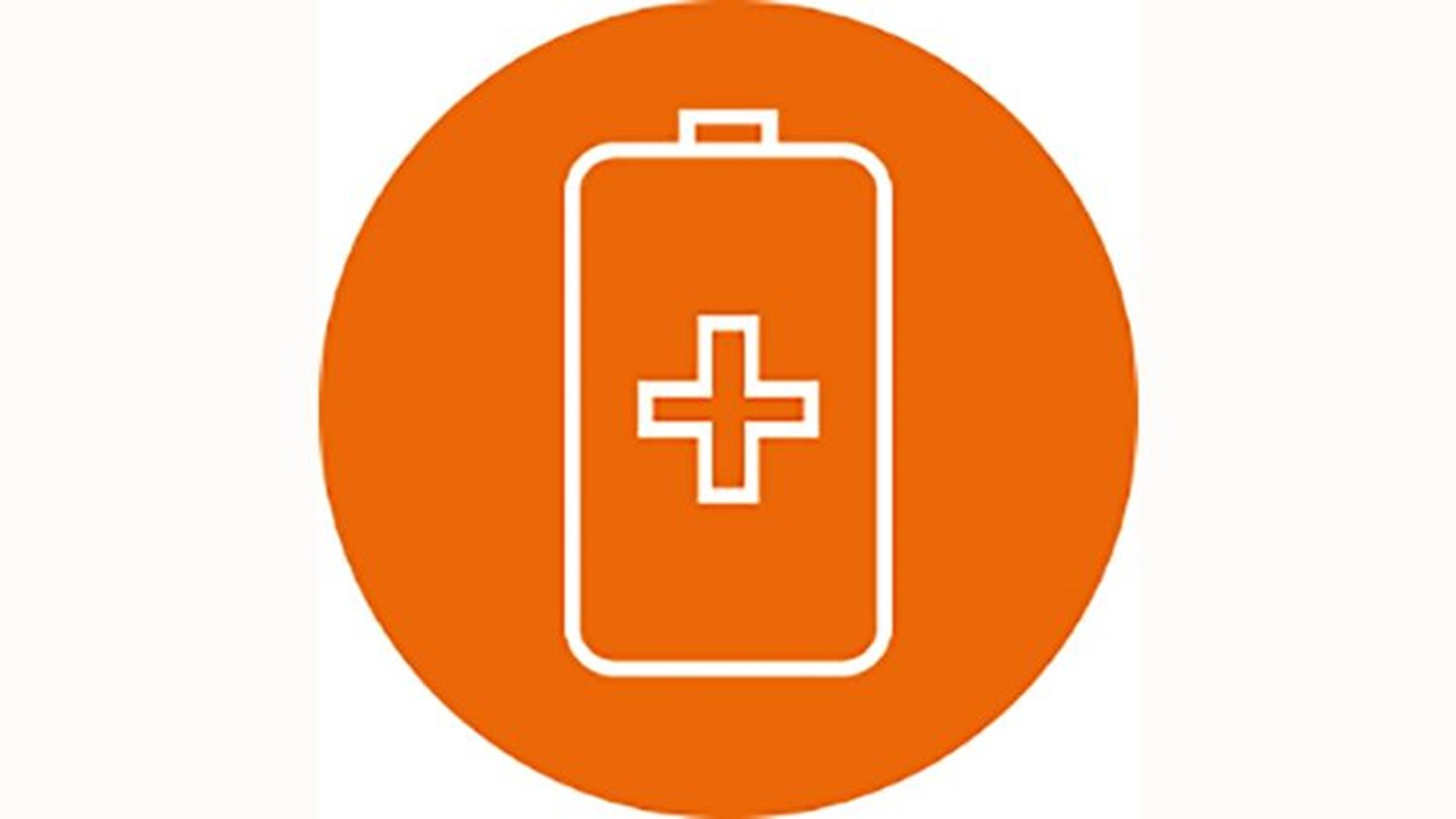 orange circle with a white icon battery with a plus symbol in the middle