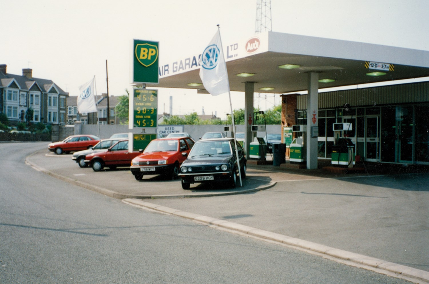 Old image of car dealer forecourt