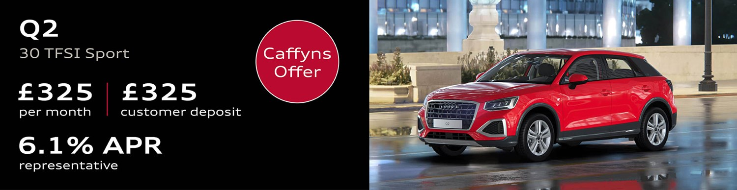 Audi Q2 from £325 per month with £325 customer deposit and 6.1% APR Representative