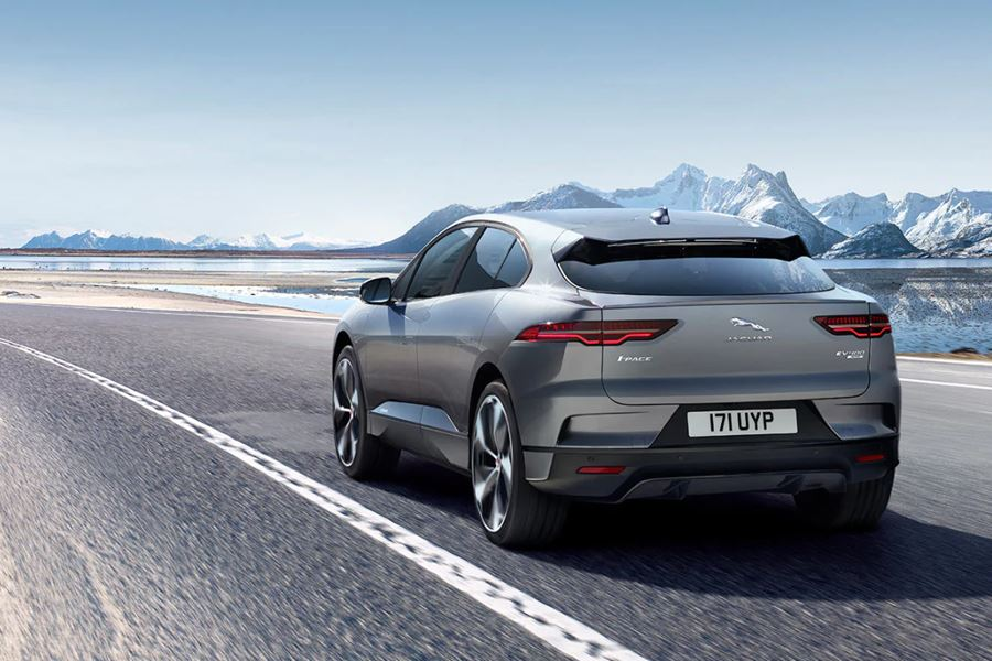 Grey Jaguar I-Pace with mountains in the background