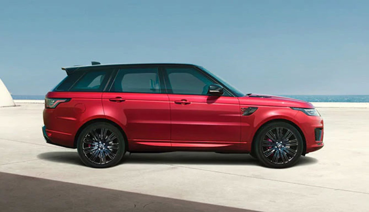 Range Rover in Red on concrete